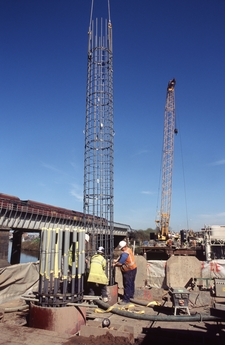 Fixing rebar column into place on the Tees bridge replacement project